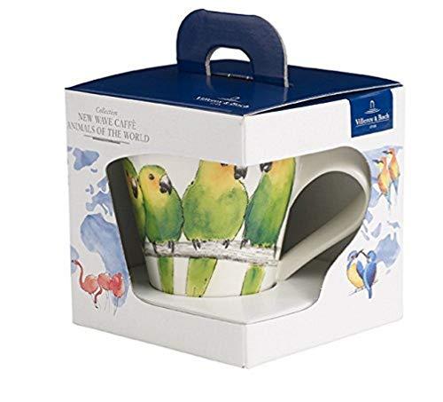 Villeroy & Boch NewWave Caffè Taza de café 'Periquito', 300 ml, Altura: 11 cm, Porcelana Premium, Verde/Colorido