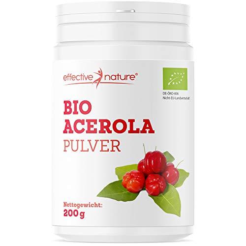 Effective nature Bio Acerola Pulver – Natürliches Vitamin C aus der Acerolakirsche, Hochdosiert, Deckt 167% des Vitamin-C-Bedarfs, Ohne Zusatzstoffe und Rohkostqualität, Schonend getrocknet, 200g