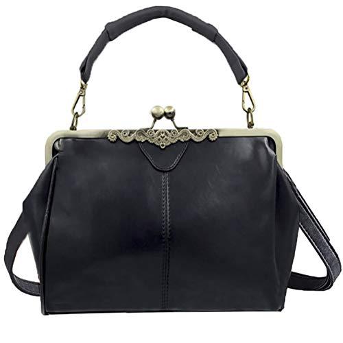 Abuyall Women Vintage Frame Pu Leather Kiss Lock Shoulder Purse Handbag Tote Bags Black