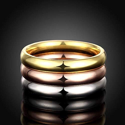 『Rockyu ジュエリー ブランド 3連リング レディース 指輪 チタン ダイヤ 金 18k ピンクゴールド シルバー』の4枚目の画像