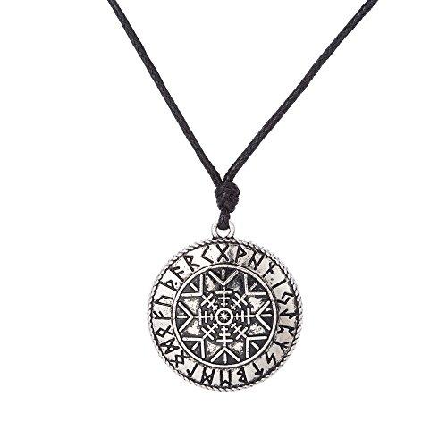 VASSAGO Collar con colgante de amuleto vintage de Talisman nórdico de runas...
