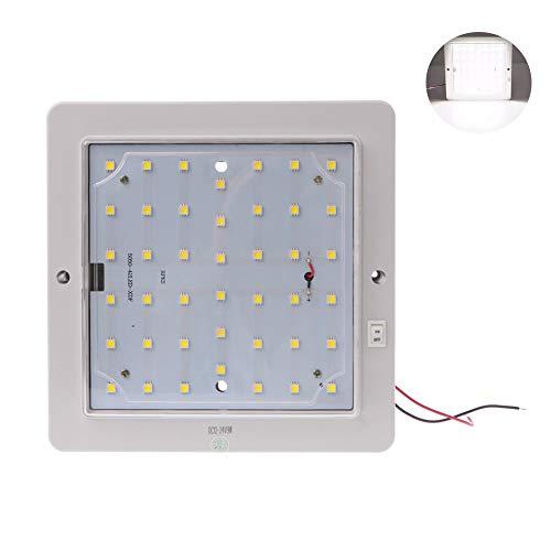 ZONCENG1 12V 9W Carré LED RV Intérieur plafonnier 42LED Lampe de Plafond pour Marine Bateau Camper Remorque (Blanc)