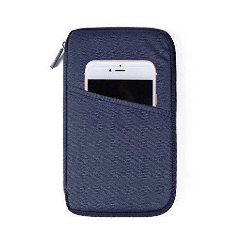 Organizador documentos KingSnow, para viaje, con bolsillos con cremallera, para documentos de viaje, pasaporte o billete, azul