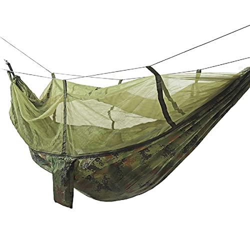 Hamaca para acampar, mosquitero, tienda de campaña, cama para dormir, ligera, mochilero, fácil de configurar (tamaño: 260 x 140 cm; color: camuflaje)