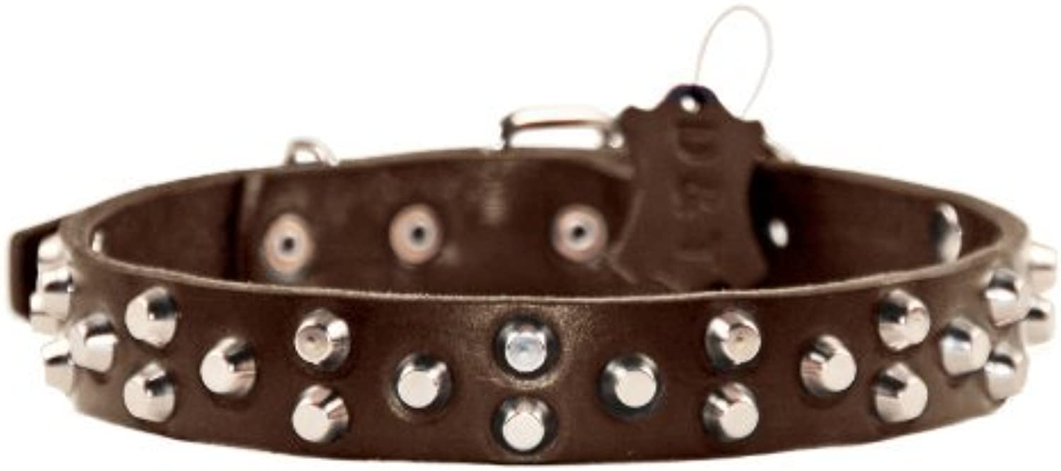 Dean and Tyler  EGYPTIAN GEM , Dog Collar with Conical Pyramids and Nickel Hardware  Brown  Size 51cm by 3cm  Fits Neck 46cm to 56cm