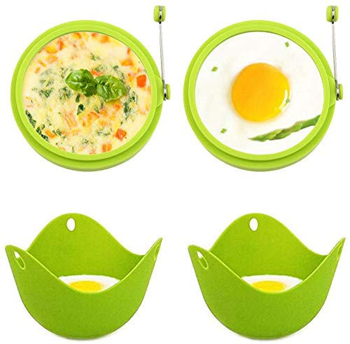 Bosdontek 4PCs Set Egg Cooking Moulds Egg Poacher Egg Cooking Cups Egg Rings Mould Non Stick Easy to Cook Perfect Poached Eggs and Fried Eggs (Egg Cooker Set)