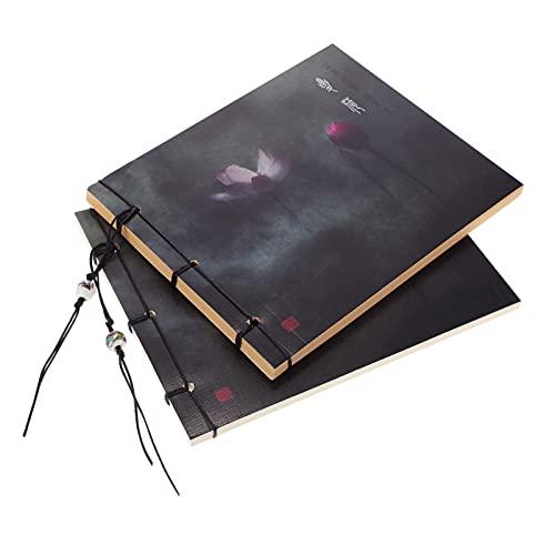 STOBOK 2 Piezas Vintage Cubierta Sketchbook Estilo Chino Sketchbook Espiral Encuadernado Cuaderno Pintura Libro Diario Libro 141X172mm