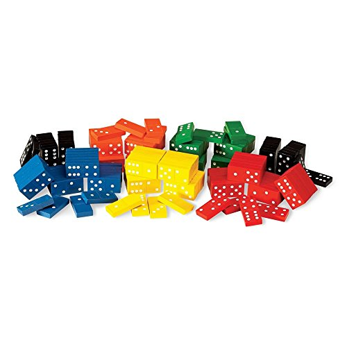 hand2mind Wood, Assorted Colors, Dominoes Double-Six Classroom Kit (6 Sets of 28)