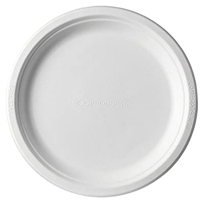 Eco-Products EP-P013 Renewable & Compostable Sugarcane Plates, 9-inch Dinner Plate, (Case of 500),white