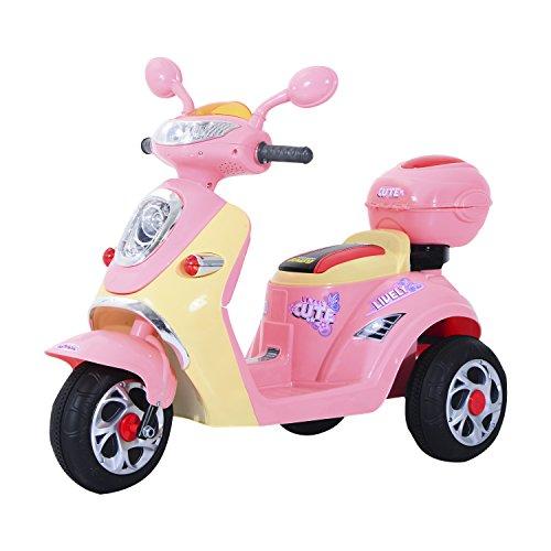 HOMCOM Moto Scooter électrique pour Enfants 6 V env. 3 Km/h 3 Roues et topcase Effet Lumineux et sonore Rose
