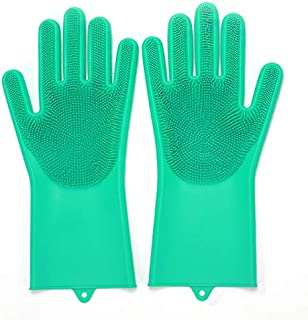 Mai Zi Magic Dishwashing Gloves with scrubber,Long Bristles Reusable Heat Resistant Silicone Brush Scrubber Gloves for cleaning the kitchen dishwashing car wash pet scrubbing(1 Pair) (Green)