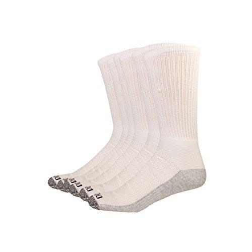 Dickies Men's Dri-Tech Comfort Crew 6-pack Socks (12-15, White/gray sole)