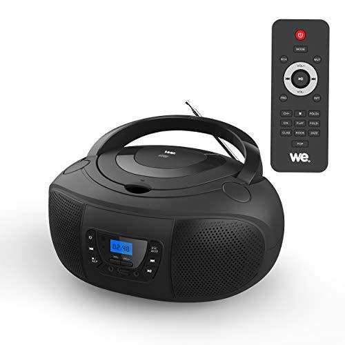 WE Lecteur Radio CD/MP3 USB, Portable, avec télécommande, 2 * 2W RMS, Noir