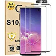 [2+1Pack] Galaxy S10 Screen Protector and Camera Lens Screen Protector Compatible Fingerprint Full Coverage Bubble-Free 9H Scratch-Resistant HD Clear 3D Curved Tempered Glass for Samsung Galaxy S10