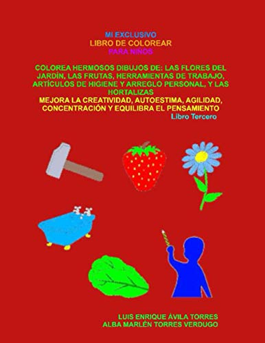 MI EXCLUSIVO LIBRO DE COLOREAR PARA NIÑOS: COLOREA HERMOSOS DIBUJOS DE: LAS FLORES DEL JARDÍN, LAS FRUTAS, HERRAMIENTAS DE TRABAJO, ARTÍCULOS DE HIGIENE Y ARREGLO PERSONAL, Y LAS HORTALIZAS