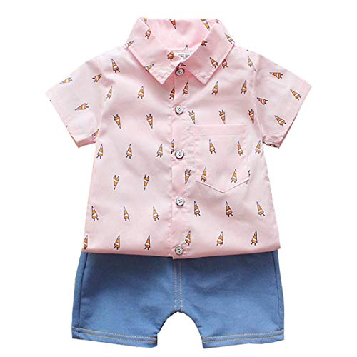 LENGIMA 2Pcs Kleinkind Jungen Outfit Set Kurzarm Hemd und Shorts Set (Color : Pink Fire Arrow, Size : 90)