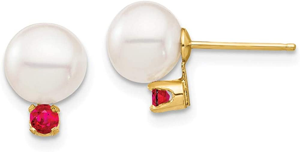 14K 7-7.5mm White Round Freshwater Cultured Pearl Ruby Post Earrings 9.6mm style XF753E/R