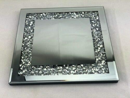 Homely Plato de Vela de Cristal de Espejo con Forma Cuadrada de 25 x 25 cm, una Elegante adición a tu hogar