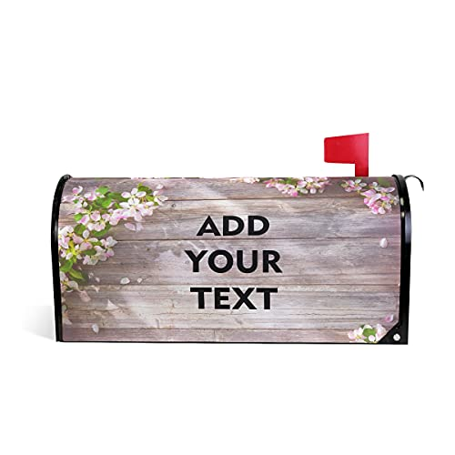 Flower Wood Grain Custom Personalized Mailbox Covers, Add Pictures, Text Design Customized Magnetic Mail Cover Letter Post Box for Home Garden Yard Outdoor