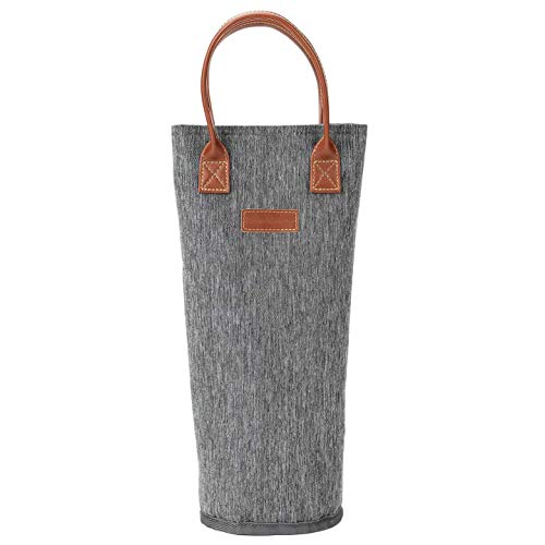 ZORMY Single Bottle Insulated Wine Tote, 1 Bottle Wine Carrier Bag Padded Wine Cooler Perfect Wine Lover's or Wedding Gift-Stripe, Grey