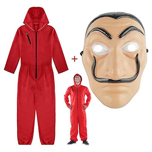 Kostüm La Casa De Papel, Anzug für Erwachsene in rotem Leinenpapierraum, Papierhaus für Räuberkostüm Halloween-Party-Maskeradenkostüm (S-Code …