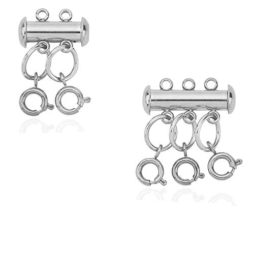 UNICRAFTALE Stainless Steel Clasps Sets, 4/6 Holes 2 Sets Slide Lock Clasps, 5pcs Open Jump Rings, 5pcs Spring Ring Clasps for Necklace Bracelet Jewelry Findings Stainless Steel Color