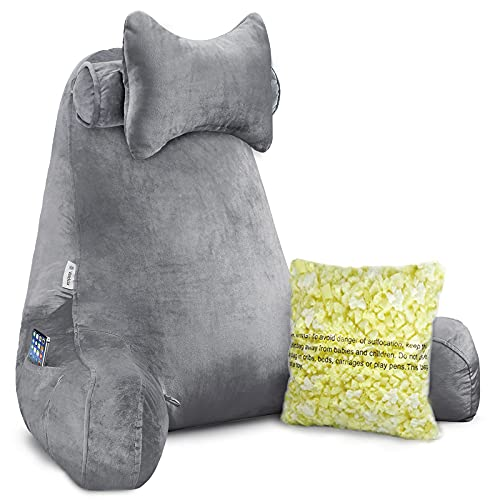 Vekkia Premium Soft Reading & Bed Rest Husband Pillow with Higher Support Arm, Pocket, Free Neck Pillow For Reading/Relaxing/Watching TV...
