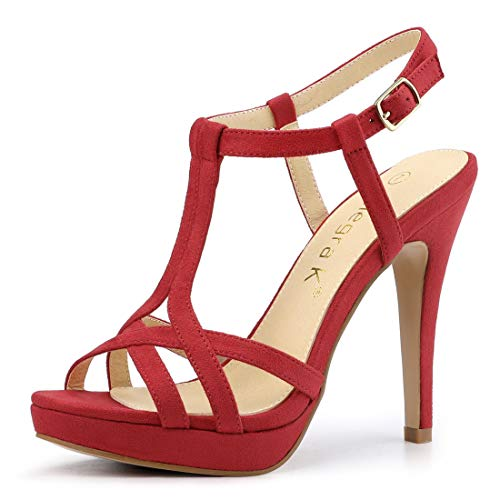 allegra k stilettos Allegra K Women's T Strap Slingback Platform Stiletto Heel Sandals