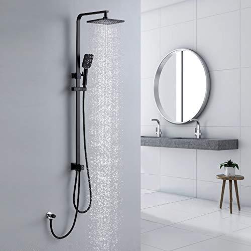 Lonheo Duschsystem Regendusche ohne Amartur, schwarzes Duschset mit Kopfbrause und Handbrause, Dusche aus Edelstahl fürs Badezimmer