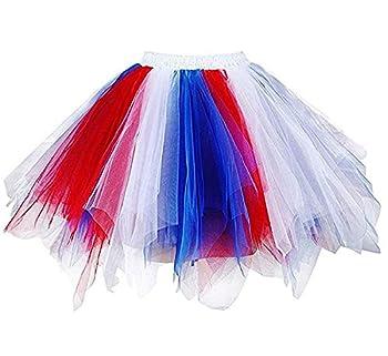 Adult Women 80 s Plus Size Tutu Skirt Layered Tulle Petticoat Halloween Tutu Red/White/Blue