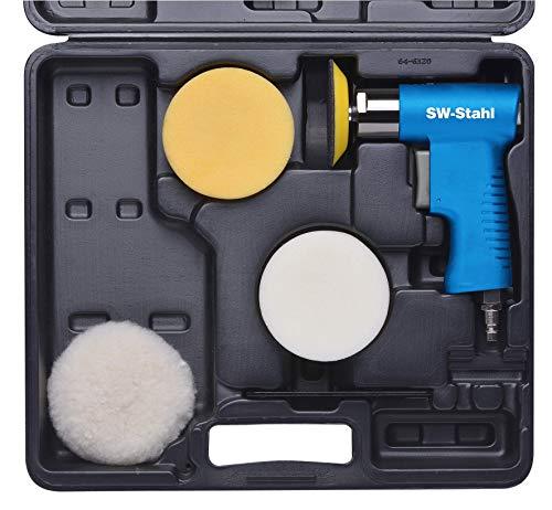 SW-Stahl S3292 Mini-Polierschleifer Satz, 3.200 U/min, 1 Aufnahmescheibe mit Klettband ø 75mm, 2 Polierschwämme ø 90mm Druckluft-Poliermaschine, blau/schwarz