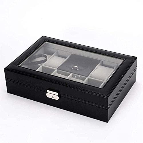 Caja de joyería caja de joyería y caja de visualización con espejo para pendientes reloj collar joyas pulseras organizador joyería caja de almacenamiento niñas y mujeres regalo con cajón de joyería pa