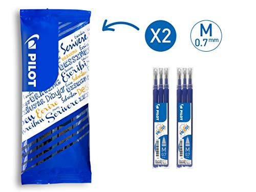 PILOT FriXion Tintenrollermine 0.7, Ersatzminen, 6er Set (Blau)
