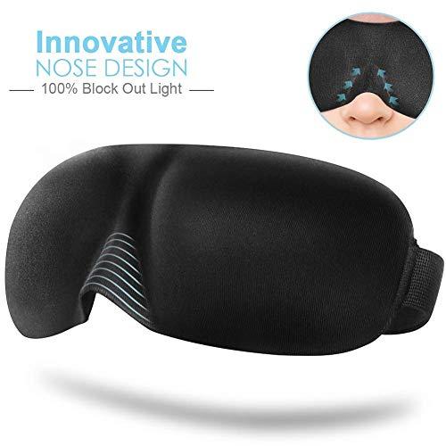 KAEHA SUN-41-09 3D-slaapmasker voor heren, 100% blok, comfort en laag gewicht voor reizen, laag, duiken, zwart