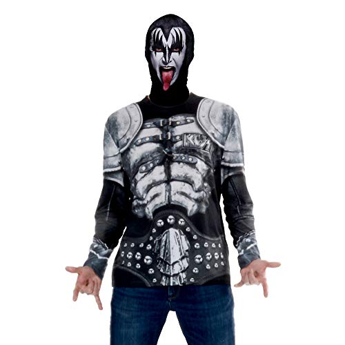 Faux Real Long Sleeve Tee Shirt with Full Fabric Face Mask, Kiss Demon, X-Large