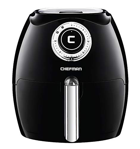 Chefman 2.6 Liter/2.7 Quart Air Fryer with Adjustable Temperature Control for the Perfect Result in Frying a Variety of Foods, Cool-to-Touch Exterior, Recipe Booklet Included, Black
