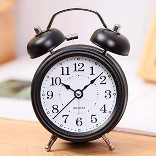 GHJA Reloj Despertador pequeño de Metal Reloj Despertador para niños Voz súper Fuerte Reloj Despertador para Estudiantes Luminoso Personalidad Creativa Perezoso Simple Mudo Alarma de cabecera