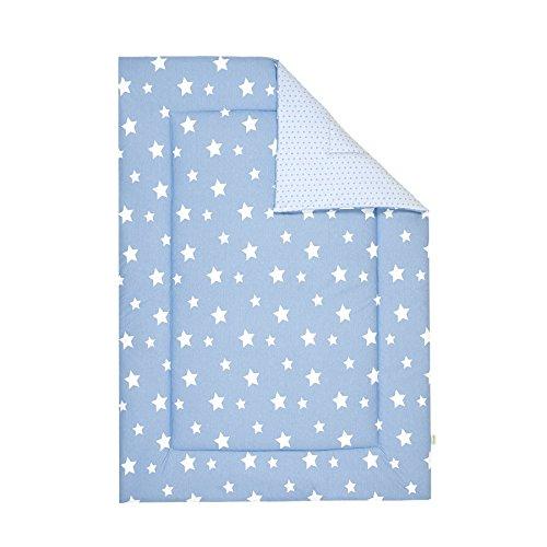 Odenwälder Wende-Krabbeldecke white stars sky blue, Größe:100 x 135