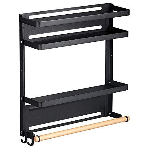 Estante magnético para especias para cocina, frigorífico, estante para hierbas, plegable, organizador de baño, organizador de toallas lateral