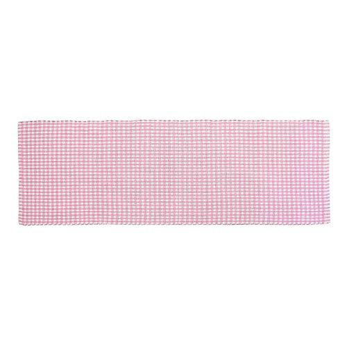 Homescapes Gingham Karo Teppich Vorleger Läufer, 66 x 200 cm, 100 % reine Baumwolle, rosa und weiß