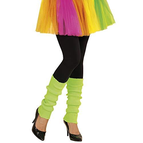 Widmann 05827 - Beinstulpen, neon-grün, Beinwärmer, 80er Jahre, angenehmer Tragekomfort, Zubehör für Assi Anzug, Bad Taste Party, 80ties, Karneval