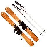 LANTELSHANO Trineo De Madera Longboard Equipadas con Tabla De Freestyle De Esquí Polos Al Aire Libre para Adultos Todoterreno Esquí Doble Conjunto Adecuado para Deportes De Invierno,90cm*6.7cm