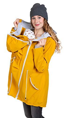 Viva la Mama - 4 in 1 Jacke für Baby Tragen hinten und vorn, Allwetter Jacke Schwangerschaft und Kindtragen, Jacke mit Rückeneinsatz PINA gelb - L