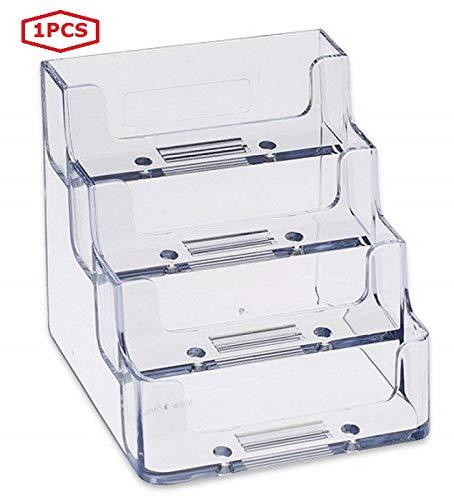 Vigorous - Caja expositora para tarjetas de visita de escritorio de acrílico transparente con cuatro bolsillos