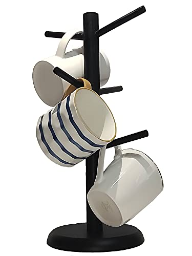 Dorhors Mug Tree,Coffee Mug Tree,Coffee Cup Holder with 6 Hooks,Mug Holder for Counter,Black