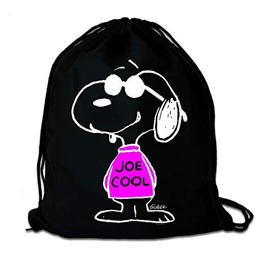 Logoshirt® - Comics - Peanuts - Snoopy - Joe Cool Pink - Sportbeutel - Turnbeutel - schwarz - Lizenziertes Original Design