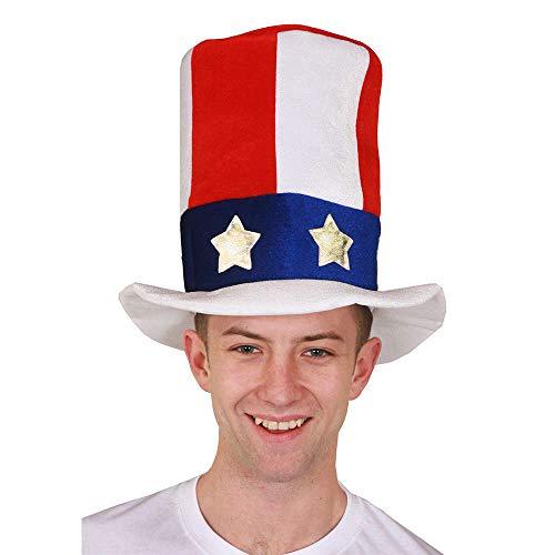 To Sam SOMBRERO AMERICANO ESTRELLAS Y RAYA Accesorio para disfraz EE.UU. NACIONAL Amrica INDEPENDENCIA Da Fieltro Sombrero de copa rojo blanco y azul 4 Julio Americana Bandera Mayorista