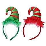 Diadema de Navidad 2 Pcs Diadema de pelo de duende lindo Diadema Disfraz de Navidad Vestir Accesorio para el cabello para niñas Niños Mujeres Fiesta Celebración Disfraces Disfraces Decoración festiva
