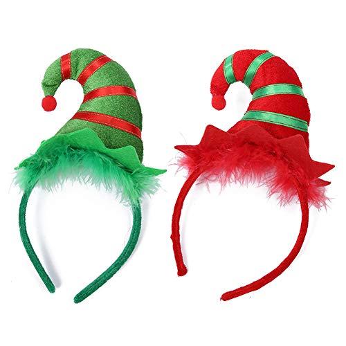 Diadema de Navidad 2 Pcs Diadema de pelo de duende lindo Diadema...
