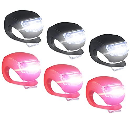 6 Pezzi Luci per Bicicletta, Luce Bicicletta Silicone LED, Intelligente 3 Modalià LED luci Bicicletta, Luce per Bici, Luce per Bicicletta Impermeabile Faro per Bici e Fanale Posteriore Bicicletta Set